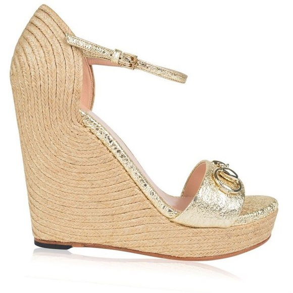 6cf4622a0e6 Gucci Shoes - Gucci  Carolina  Espadrille Wedge in Metallic Gold